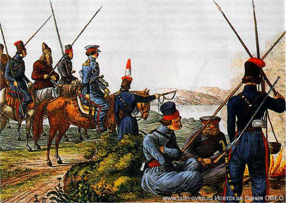 Донские казаки на бивуаке в 1814 г. Гравюра Г. Адама. Первая половина XIX в.